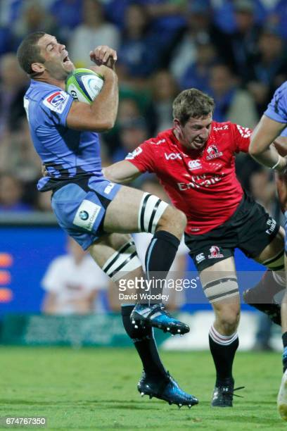 Matt Hodgson of the Force catches the ball during the round 10 Super Rugby match between the Force and the Lions at nib Stadium on April 29 2017 in...