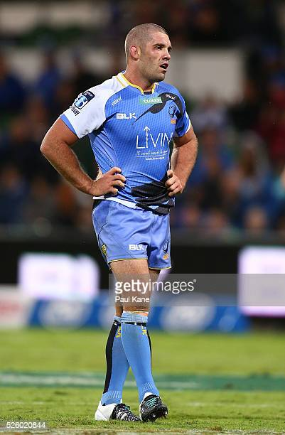 Matt Hodgson of the Force looks on during the round 10 Super Rugby match between the Force and the Bulls at nib Stadium on April 29 2016 in Perth...
