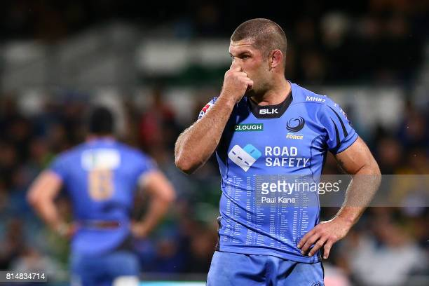 Matt Hodgson of the Force looks on during the round 17 Super Rugby match between the Force and the Waratahs at nib Stadium on July 15 2017 in Perth...