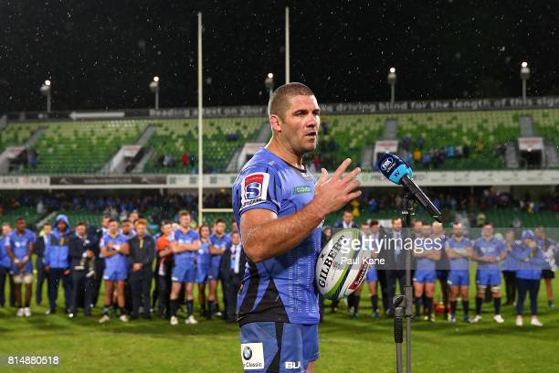 Matt Hodgson of the Force makes a speech after playing his final game and winning the round 17 Super Rugby match between the Force and the Waratahs...