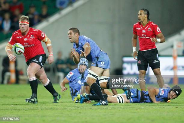 Matt Hodgson of the Force passes the ball during the round 10 Super Rugby match between the Force and the Lions at nib Stadium on April 29 2017 in...