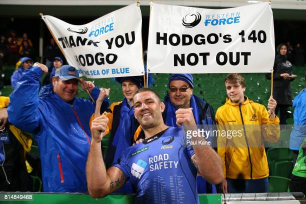 Matt Hodgson of the Force poses with supporters after the round 17 Super Rugby match between the Force and the Waratahs at nib Stadium on July 15...