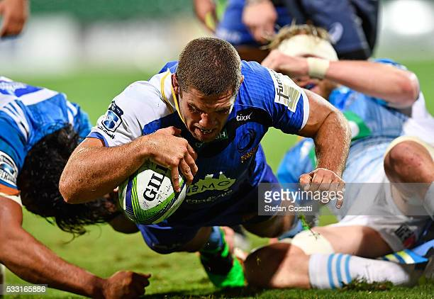 Matt Hodgson of the Force scores a try during the round 13 Super Rugby match between the Force and the Blues at nib Stadium on May 21 2016 in Perth...
