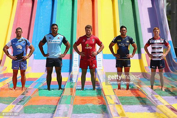 Matt Hodgson of the Force Wycliff Palu of the Waratahs James Slipper of the Reds Christian Lealiifano of the Brumbies and Nic Stirzaker of the Rebels...