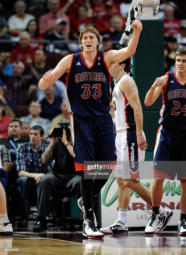 Matt Hodgson #33 of the Saint Mary's Gaels geatures after making a basket during the championship game of the West Coast Conference Basketball tournament against the Gonzaga Bulldogs at the Orleans Arena March 11, 2013 in Las Vegas, Nevada.