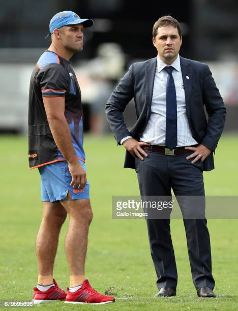 Matt Hodgson of Western Force with David Wessels of Western Force during the Super Rugby match between Cell C Sharks and Force at Growthpoint Kings...