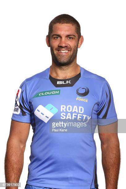 Matt Hodgson poses during a Western Force Super Rugby headshots session at the Rugby WA office on April 27 2017 in Perth Australia