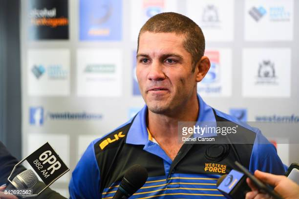Matt Hodgson speaks to the media during a press conference at Rugby WA HQ on September 5 2017 in Perth Australia