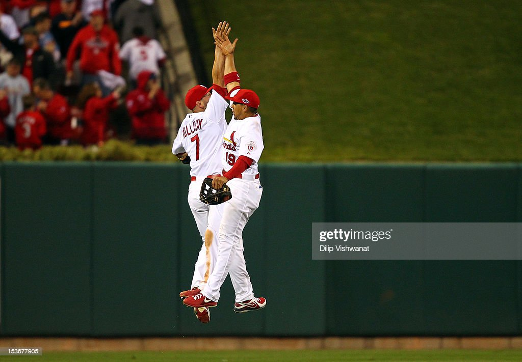<a gi-track='captionPersonalityLinkClicked' href=/galleries/search?phrase=Matt+Holliday&family=editorial&specificpeople=207017 ng-click='$event.stopPropagation()'>Matt Holliday</a> #7 and <a gi-track='captionPersonalityLinkClicked' href=/galleries/search?phrase=Jon+Jay+-+Baseball+Player&family=editorial&specificpeople=5734285 ng-click='$event.stopPropagation()'>Jon Jay</a> #19 of the St. Louis Cardinals celebrate after the Cardinals 12-4 victory against the Washington Nationals during Game Two of the National League Division Series at Busch Stadium on October 8, 2012 in St Louis, Missouri.
