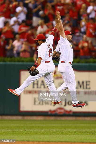 Matt Holliday and Jon Jay of the St Louis Cardinals celebrate after beating the Los Angeles Dodgers at Busch Stadium on July 18 2014 in St Louis...