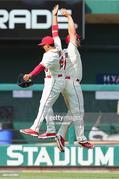 Matt Holliday and Jon Jay of the St Louis Cardinals celebrate after beating the Chicago Cubs at Busch Stadium on April 12 2014 in St Louis Missouri...