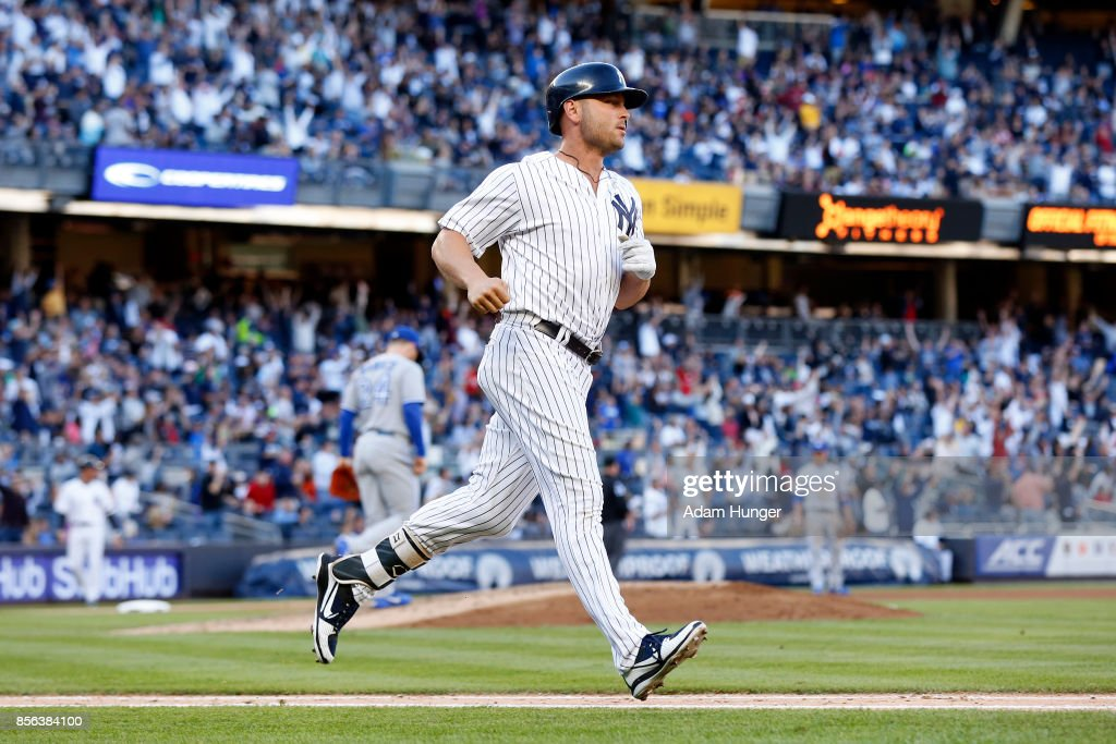 Matt Holliday #17 of the New York Yankees rounds the bases after a solo home run off of Danny Barnes #24 of the Toronto Blue Jays during the seventh inning at Yankee Stadium on October 1, 2017 in the Bronx borough of New York City.