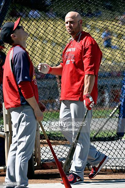 Matt Holliday of the St Louis Cardinals attends batting practice before taking on the Los Angeles Dodgers in Game One of the National League Division...