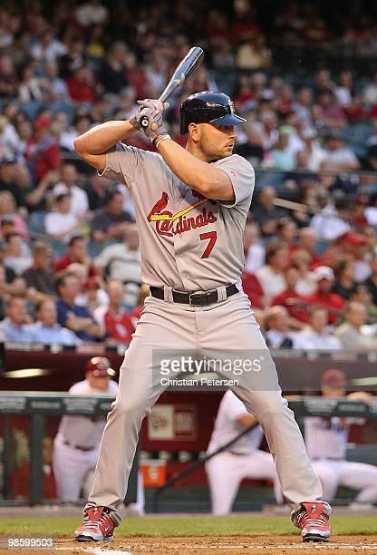 Matt Holliday of the St Louis Cardinals bats against the Arizona Diamondbacks during the Major League Baseball game at Chase Field on April 19 2010...