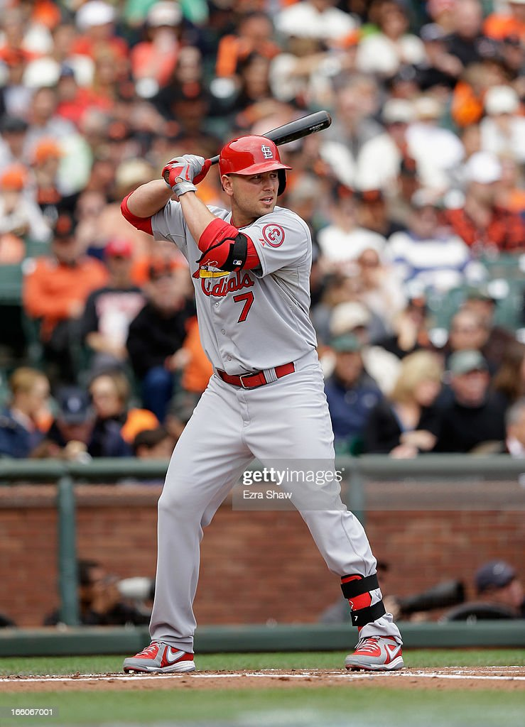 <a gi-track='captionPersonalityLinkClicked' href=/galleries/search?phrase=Matt+Holliday&family=editorial&specificpeople=207017 ng-click='$event.stopPropagation()'>Matt Holliday</a> #7 of the St. Louis Cardinals bats against the San Francisco Giants at AT&T Park on April 6, 2013 in San Francisco, California.