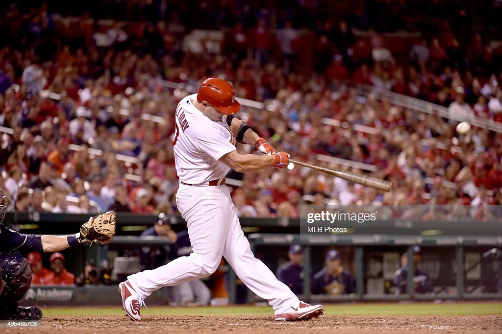 <a gi-track='captionPersonalityLinkClicked' href=/galleries/search?phrase=Matt+Holliday&family=editorial&specificpeople=207017 ng-click='$event.stopPropagation()'>Matt Holliday</a> #7 of the St. Louis Cardinals gets a base hit for his 45th consecutive game on-base streak during an MLB game against the Milwaukee Brewers on June 1, 2015 at Busch Stadium in St. Louis, Missouri. The on-base streak would end on June 2, 2015.