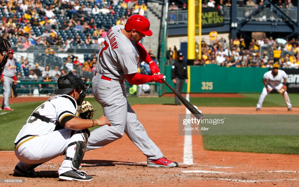 <a gi-track='captionPersonalityLinkClicked' href=/galleries/search?phrase=Matt+Holliday&family=editorial&specificpeople=207017 ng-click='$event.stopPropagation()'>Matt Holliday</a> #7 of the St. Louis Cardinals grounds into a double play in the ninth inning against the Pittsburgh Pirates during the game at PNC Park April 6, 2014 in Pittsburgh, Pennsylvania. The Pirates defeated the Cardinals 2-1.