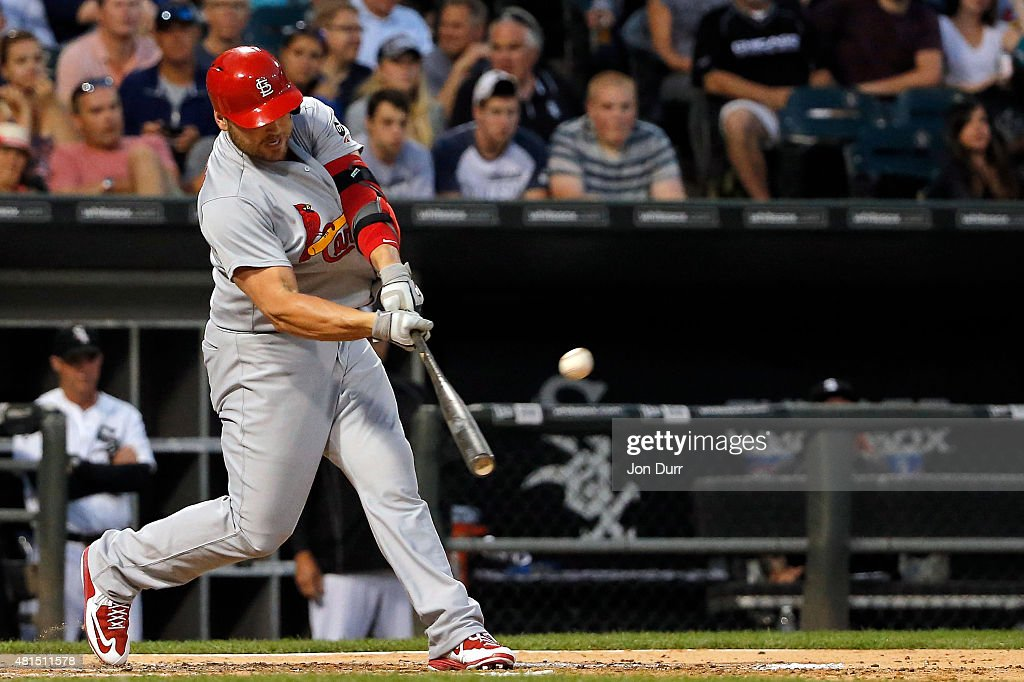 Matt Holliday #7 of the St. Louis Cardinals hits a grand slam against the Chicago White Sox during the fourth inning at U.S. Cellular Field on July 21, 2015 in Chicago, Illinois.