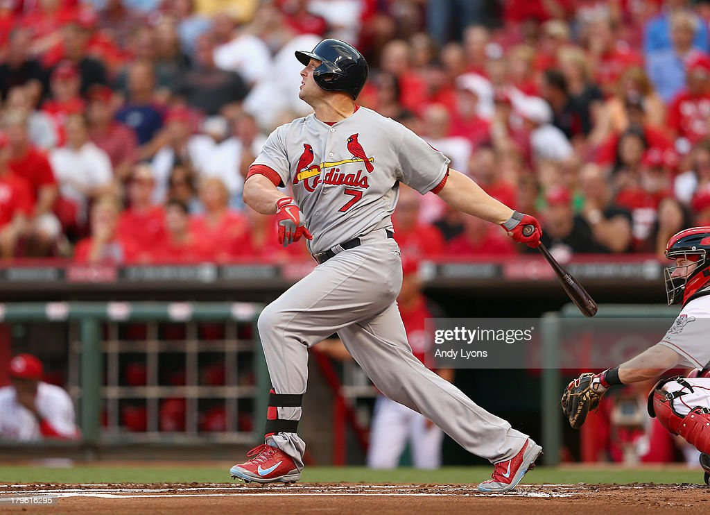 Matt Holliday #7 of the St. Louis Cardinals hits a single in the first inning during the game against the Cincinnati Reds at Great American Ball Park on September 5, 2013 in Cincinnati, Ohio.