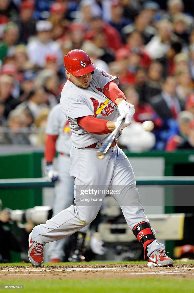 <a gi-track='captionPersonalityLinkClicked' href=/galleries/search?phrase=Matt+Holliday&family=editorial&specificpeople=207017 ng-click='$event.stopPropagation()'>Matt Holliday</a> #7 of the St. Louis Cardinals hits a single in the fourth inning against the Washington Nationals at Nationals Park on April 23, 2013 in Washington, DC.