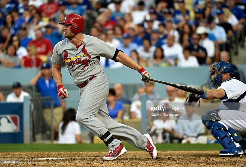 <a gi-track='captionPersonalityLinkClicked' href=/galleries/search?phrase=Matt+Holliday&family=editorial&specificpeople=207017 ng-click='$event.stopPropagation()'>Matt Holliday</a> #7 of the St. Louis Cardinals hits a single in the seventh inning against the Los Angeles Dodgers during Game One of the National League Division Series at Dodger Stadium on October 3, 2014 in Los Angeles, California.