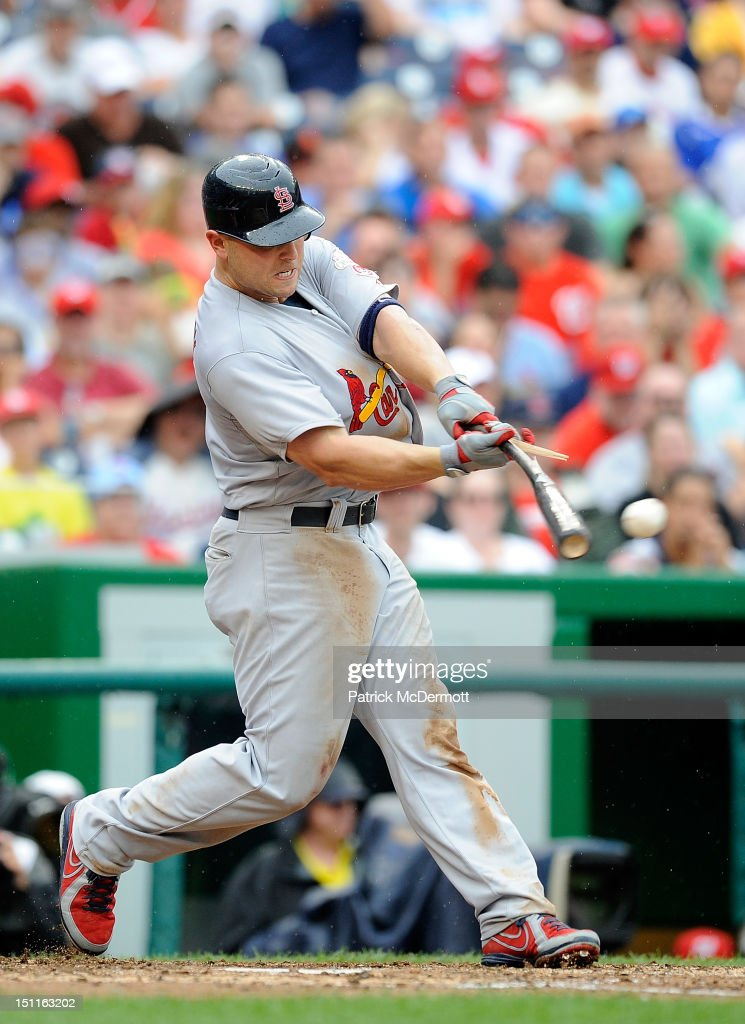 <a gi-track='captionPersonalityLinkClicked' href=/galleries/search?phrase=Matt+Holliday&family=editorial&specificpeople=207017 ng-click='$event.stopPropagation()'>Matt Holliday</a> #7 of the St. Louis Cardinals hits a single to left in the sixth inning against the Washington Nationals at Nationals Park on September 2, 2012 in Washington, DC.