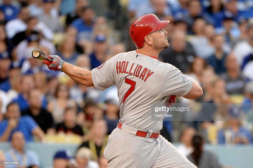 <a gi-track='captionPersonalityLinkClicked' href=/galleries/search?phrase=Matt+Holliday&family=editorial&specificpeople=207017 ng-click='$event.stopPropagation()'>Matt Holliday</a> #7 of the St. Louis Cardinals hits a two-run home run in the third inning against the Los Angeles Dodgers in Game Four of the National League Championship Series at Dodger Stadium on October 15, 2013 in Los Angeles, California.