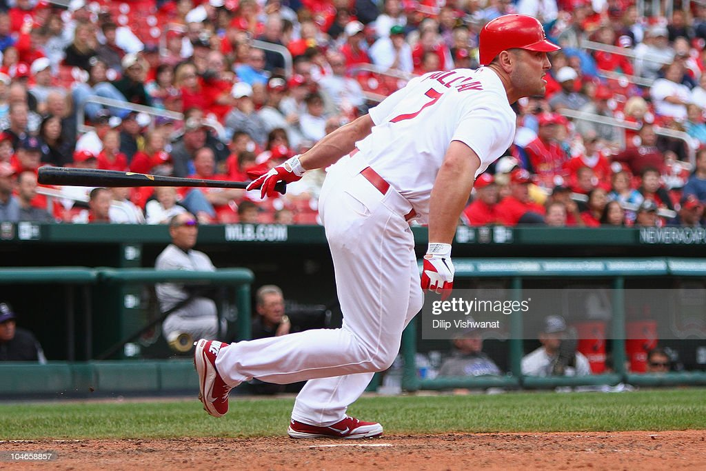 <a gi-track='captionPersonalityLinkClicked' href=/galleries/search?phrase=Matt+Holliday&family=editorial&specificpeople=207017 ng-click='$event.stopPropagation()'>Matt Holliday</a> #7 of the St. Louis Cardinals hits a walk-off single against the Colorado Rockies at Busch Stadium on October 2, 2010 in St. Louis, Missouri. The Cardinals beat the Rockies 1-0 in 11 innings.
