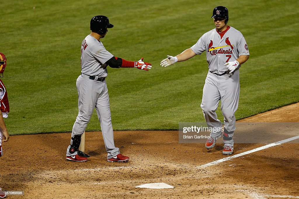 <a gi-track='captionPersonalityLinkClicked' href=/galleries/search?phrase=Matt+Holliday&family=editorial&specificpeople=207017 ng-click='$event.stopPropagation()'>Matt Holliday</a> #7 of the St. Louis Cardinals is congratulated by a teammate after hitting a home run in the seventh inning of the game against the Philadelphia Phillies at Citizens Bank Park on April 19, 2013 in Philadelphia, Pennsylvania.