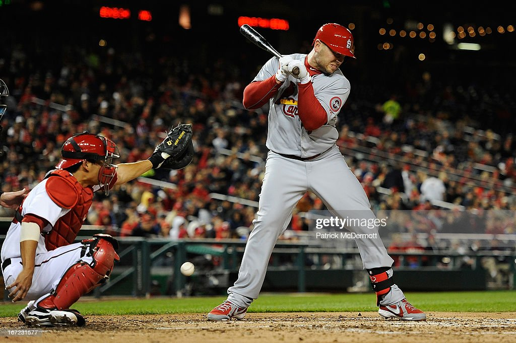 <a gi-track='captionPersonalityLinkClicked' href=/galleries/search?phrase=Matt+Holliday&family=editorial&specificpeople=207017 ng-click='$event.stopPropagation()'>Matt Holliday</a> #7 of the St. Louis Cardinals is hit by a pitch in the sixth inning during a game against the Washington Nationals at Nationals Park on April 22, 2013 in Washington, DC.