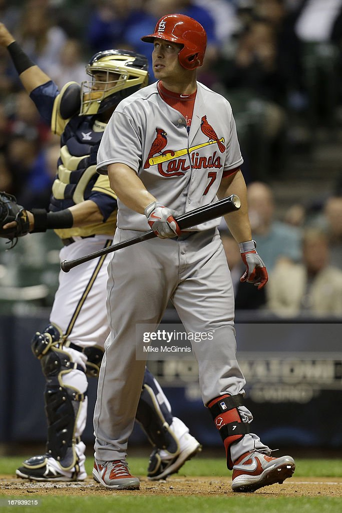 Matt Holliday #7 of the St. Louis Cardinals looks to the scoreboard after striking out at the plate during the first inning against the Milwaukee Brewers at Miller Park on May 02, 2013 in Milwaukee, Wisconsin.