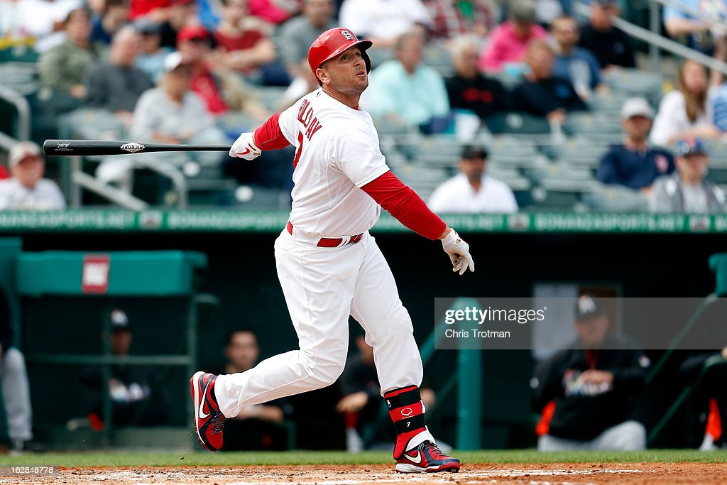 <a gi-track='captionPersonalityLinkClicked' href=/galleries/search?phrase=Matt+Holliday&family=editorial&specificpeople=207017 ng-click='$event.stopPropagation()'>Matt Holliday</a> #7 of the St. Louis Cardinals pops the ball up against the Miami Marlins at Roger Dean Stadium on February 28, 2013 in Jupiter, Florida.