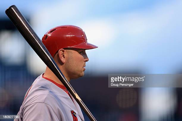 Matt Holliday of the St Louis Cardinals prepares to take an at bat against the Colorado Rockies at Coors Field on September 17 2013 in Denver...