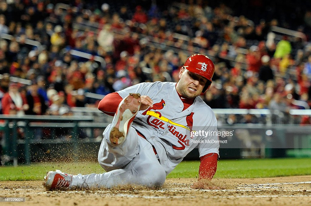 <a gi-track='captionPersonalityLinkClicked' href=/galleries/search?phrase=Matt+Holliday&family=editorial&specificpeople=207017 ng-click='$event.stopPropagation()'>Matt Holliday</a> #7 of the St. Louis Cardinals scores a run on a Yadier Molina #4 single in the sixth inning during a game against the Washington Nationals at Nationals Park on April 22, 2013 in Washington, DC.