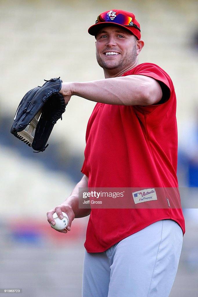 <a gi-track='captionPersonalityLinkClicked' href=/galleries/search?phrase=Matt+Holliday&family=editorial&specificpeople=207017 ng-click='$event.stopPropagation()'>Matt Holliday</a> #15 of the St. Louis Cardinals smiles before taking on the Los Angeles Dodgers in Game One of the NLDS during the 2009 MLB Playoffs at Dodger Stadium on October 7, 2009 in Los Angeles, California.
