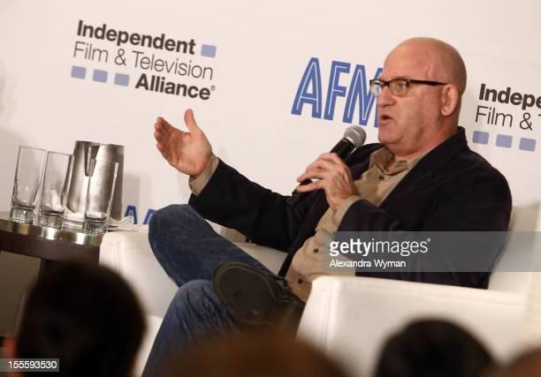 Matt Holzman KCRW hosts the 'IDA The Doc Remake' panel at American Film Market Day 6 at the Loews Santa Monica Beach Hotel on November 5 2012 in...