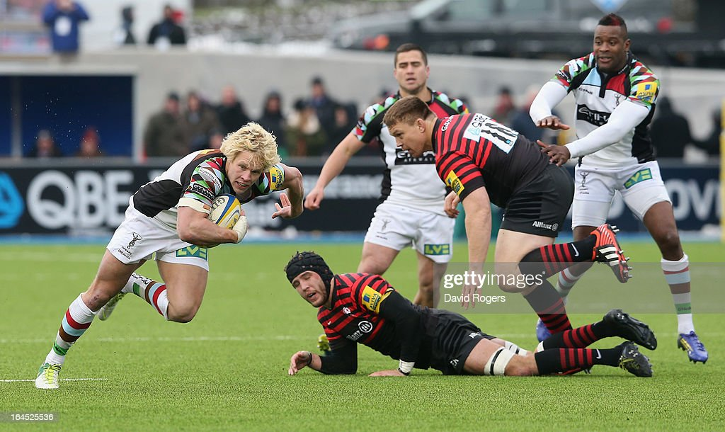 Matt Hopper of Harlequins breaks with the ball during the Aviva Premiership match between Saracens and Harlequins at Allianz Park on March 24, 2013 in Barnet, England.