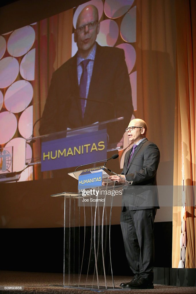 Matt Hoverman, Finalist for 'Arthur' speaks onstage during the 41st Humanitas Prize Awards Ceremony at Directors Guild Of America on February 11, 2016 in Los Angeles, California.