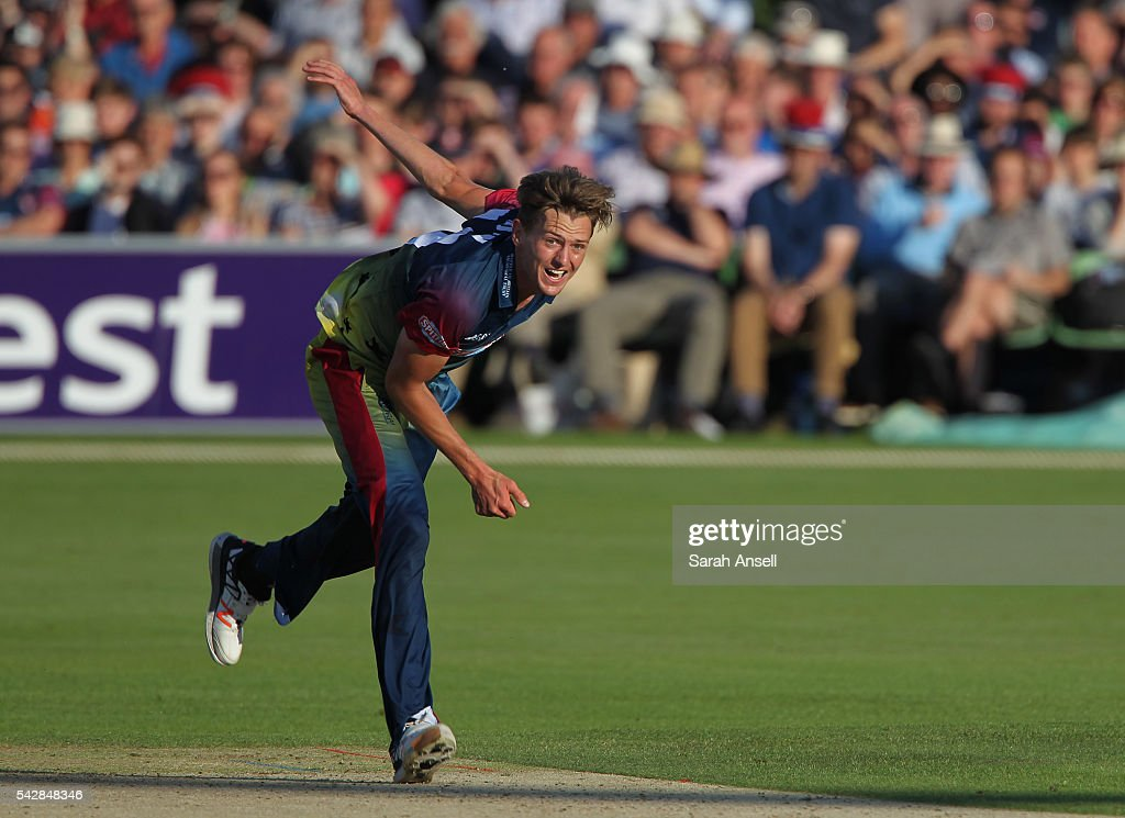 Matt Hunn of Kent bowls during the Natwest T20 Blast match between Kent and Middlesex at The Spitfire Ground on June 24, 2016 in Canterbury, England.