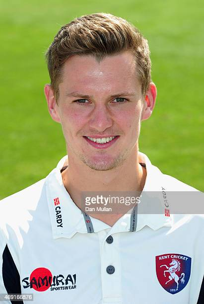 Matt Hunn of Kent poses during the Kent CCC Photocall on April 10 2015 in Canterbury England