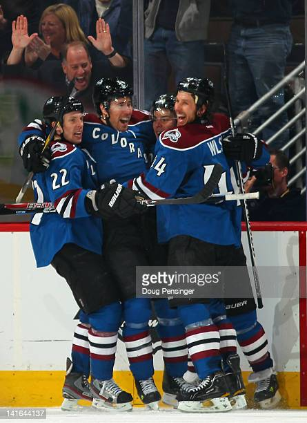 Matt Hunwick David Jones Paul Stastny of the and Ryan Wilson of the Colorado Avalanche celebrate the game winning goal by David Jones in overtime...