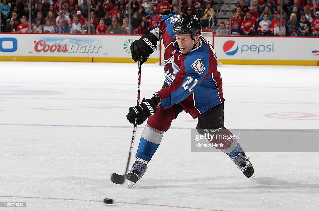 <a gi-track='captionPersonalityLinkClicked' href=/galleries/search?phrase=Matt+Hunwick&family=editorial&specificpeople=2284766 ng-click='$event.stopPropagation()'>Matt Hunwick</a> #22 of the Colorado Avalanche shoots against the Detroit Red Wings at the Pepsi Center on April 5, 2013 in Denver, Colorado.