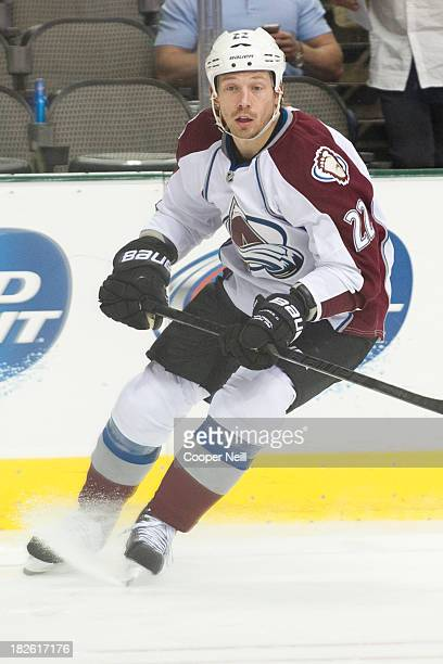 Matt Hunwick of the Colorado Avalanche skates against the Dallas Stars in an NHL preseason game on September 26 2013 at the American Airlines Center...
