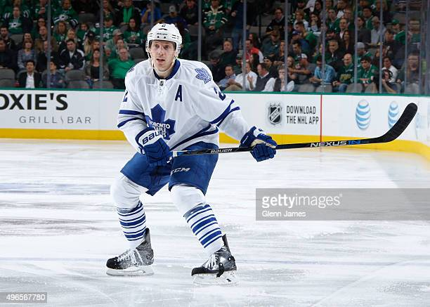 Matt Hunwick of the Toronto Maple Leafs skates against the Dallas Stars at the American Airlines Center on November 10 2015 in Dallas Texas