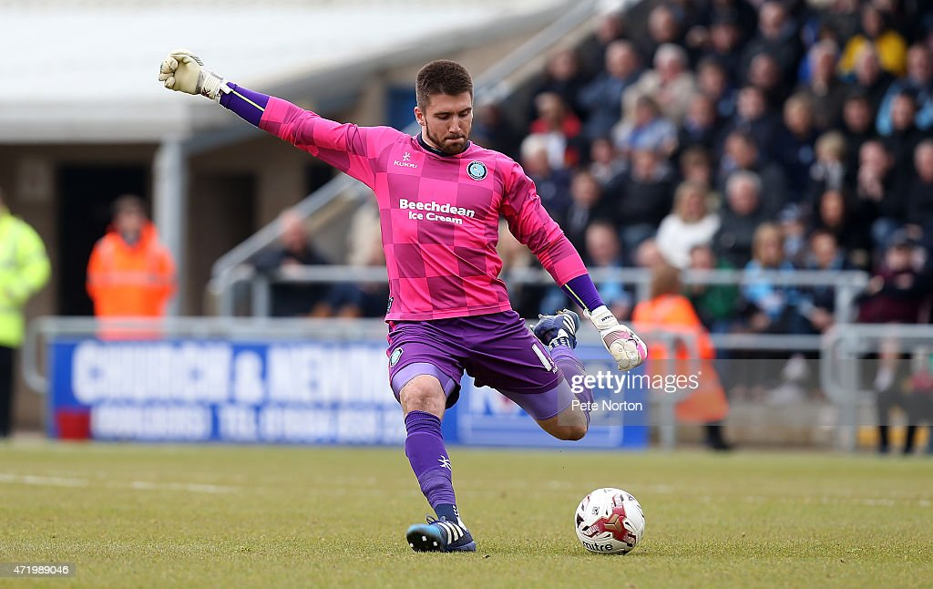Matt Ingram of Wycombe Wanderers in action during the Sky Bet League Two match between Northampton Town and Wycombe Wanderers at Sixfields Stadium on May 2, 2015 in Northampton, England.
