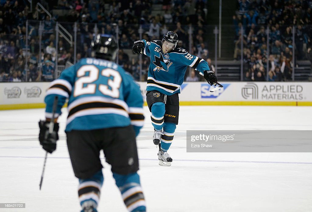 Matt Irwin #52 of the San Jose Sharks celebrates after he scored against the St. Louis Blues at HP Pavilion on March 9, 2013 in San Jose, California.