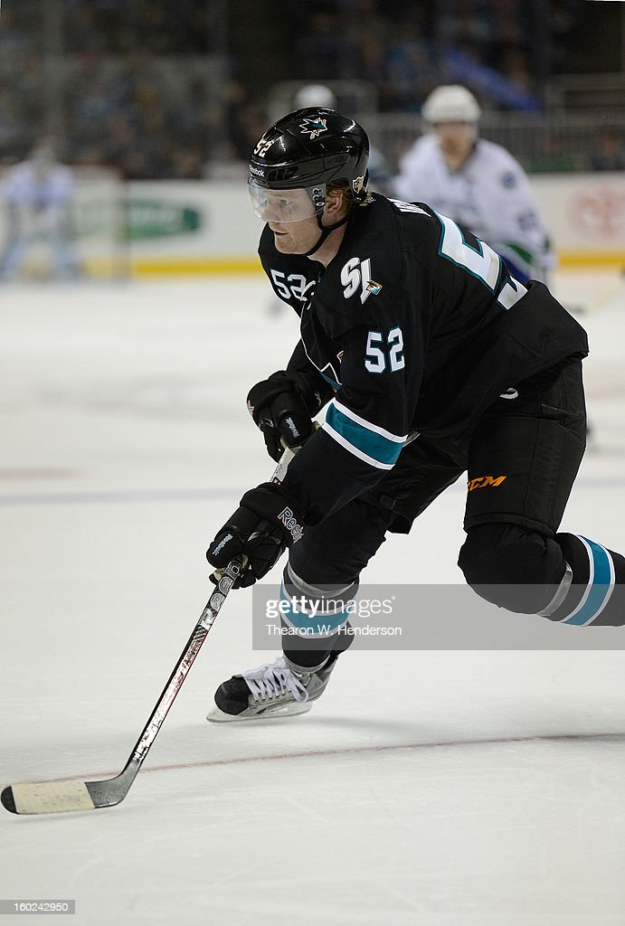 Matt Irwin #52 of the San Jose Sharks skates against the Vancouver Canucks at HP Pavilion on January 27, 2013 in San Jose, California.