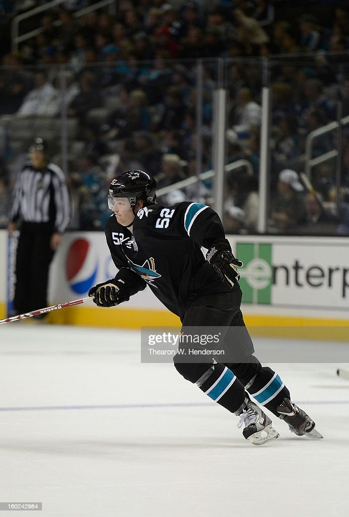 Matt Irwin #52 of the San Jose Sharks skates against the Vancouver Canucks at HP Pavilion on January 27, 2013 in San Jose, California.