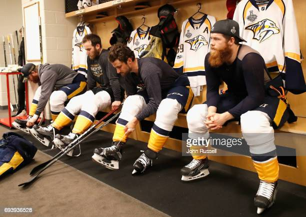 Matt Irwin Yannick Weber Roman Josi and Ryan Ellis of the Nashville Predators prepare to play in Game Five of the 2017 NHL Stanley Cup Final against...