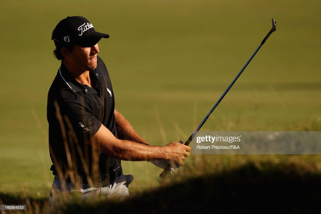 Matt Jager of Australia plays a shot on the 2nd hole during day two of the British Open International Final Qualifying Australasia at Kingston Heath Golf Club on January 30, 2013 in Melbourne, Australia.